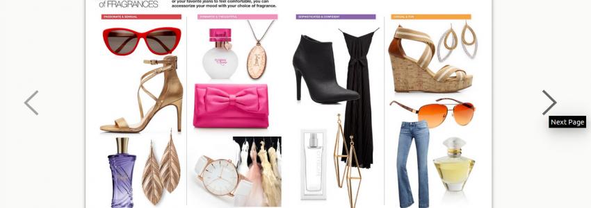screenshot of product catalog
