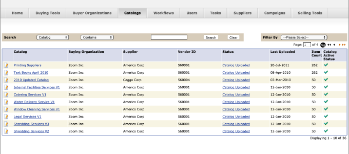 catalog management software screenshot